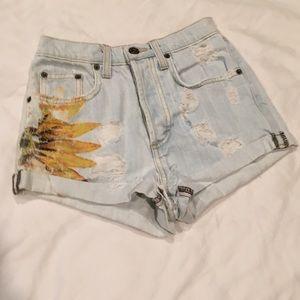 Carmar High waisted light denim shorts